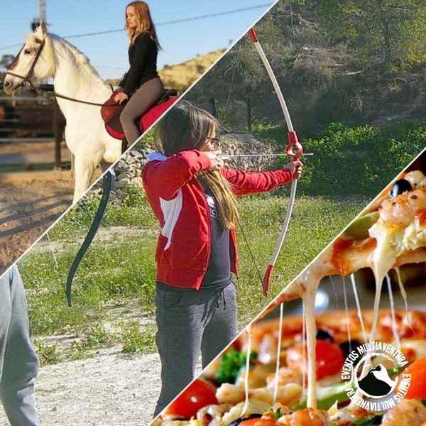 pack caballo, tiro con arco y pizza
